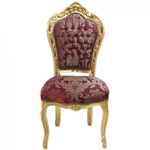 Scaun dining clasic baroc cadru auriu / tapiterie bordo regal