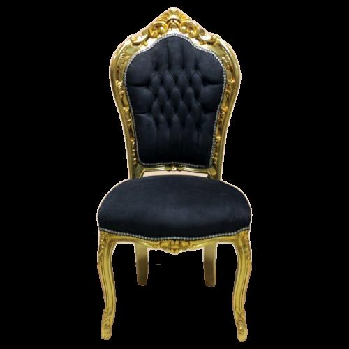 Scaun dining clasic baroc cadru auriu / tapiterie neagra