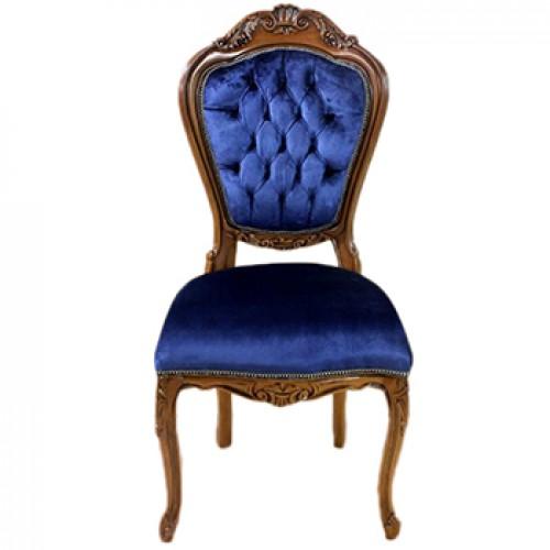 Scaun LUXURY baroc cadru maro / tapiserie albastra