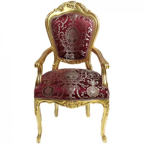 Scaun LUXURY baroc cadru auriu / tapiserie royal bordo