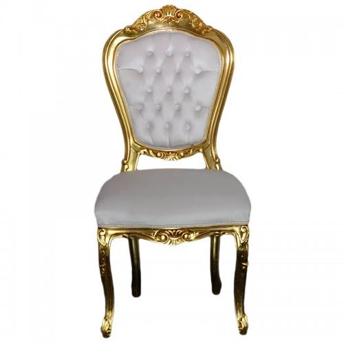 Scaun LUXURY baroc cadru auriu / tapiserie crem