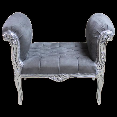 Taburet clasic baroc cadru argintiu - tapiterie gri