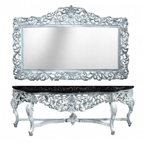 Consola completa ROYAL clasica baroc cadru argintiu