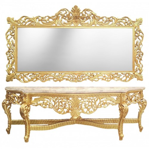 Consola completa ROYAL clasica baroc cadru auriu