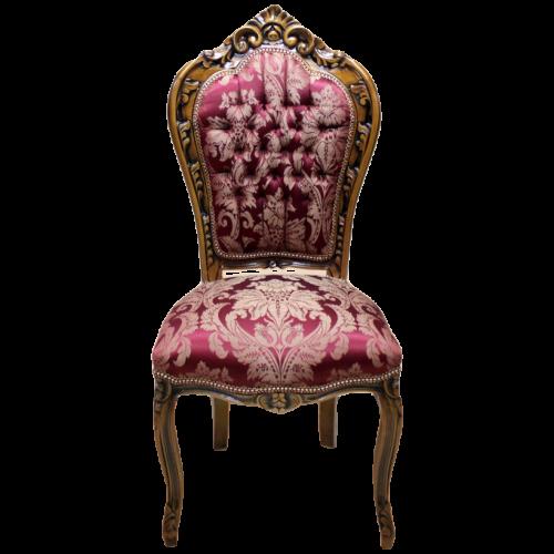 Scaun dining clasic baroc cadru maro / tapiterie bordo regal